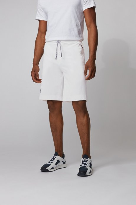 Interlock-piqué shorts with Tokyo artwork, White