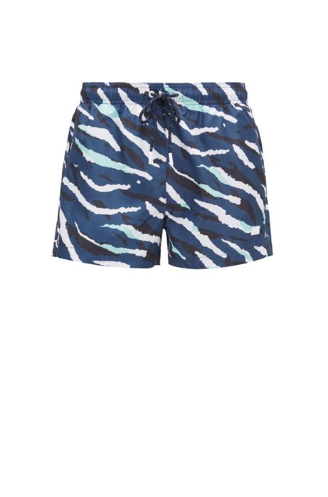 Quick-dry swim shorts with abstract tiger pattern, Light Blue