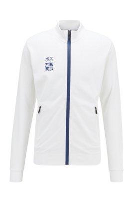 Interlock-piqué sweatshirt with Tokyo artwork, White