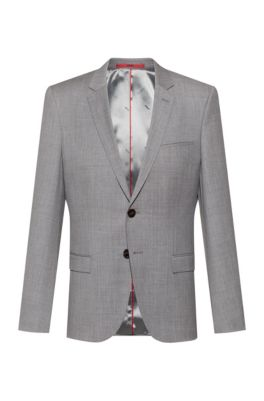 Extra-slim-fit jacket in a traceable-wool blend, Light Grey