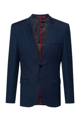 Extra-slim-fit jacket in a traceable-wool blend, Dark Blue