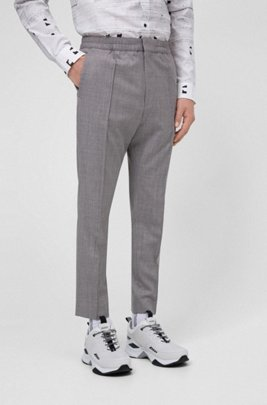 Extra-slim-fit pants in a traceable-wool blend, Light Grey