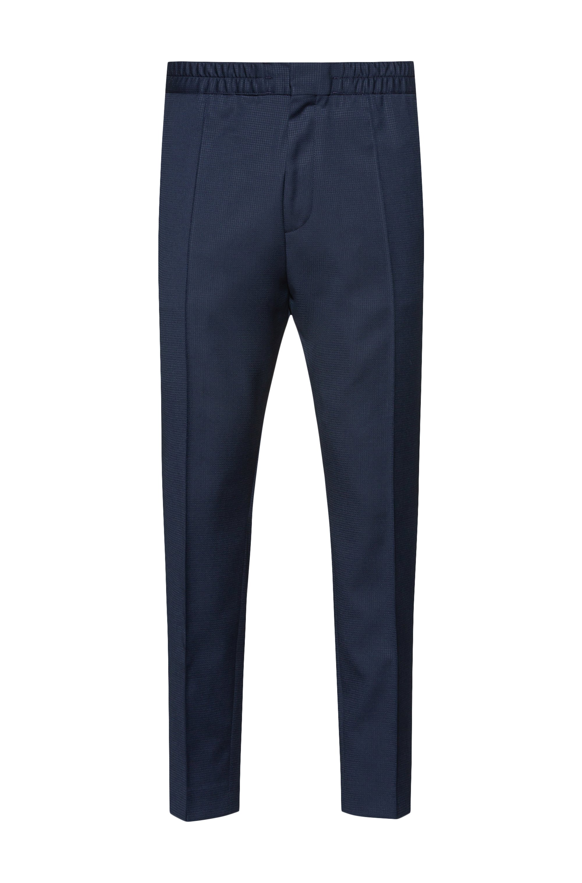Pantalon Extra Slim Fit en laine mélangée traçable, Bleu foncé