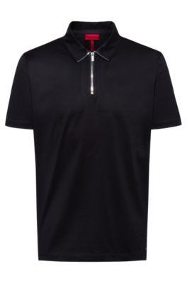 Zip-neck slim-fit polo shirt in mercerized cotton, Black