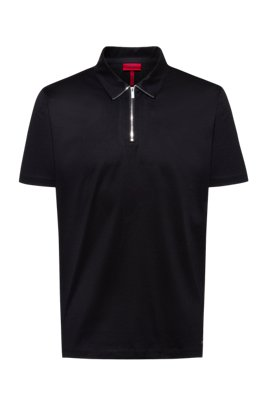 Zip-neck slim-fit polo shirt in mercerized cotton, Black