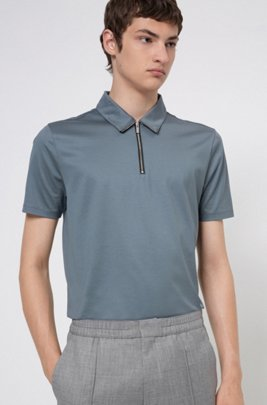 Zip-neck slim-fit polo shirt in mercerized cotton, Dark Grey