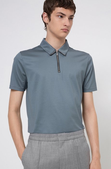 Zip-neck slim-fit polo shirt in mercerized cotton, Dark Grey