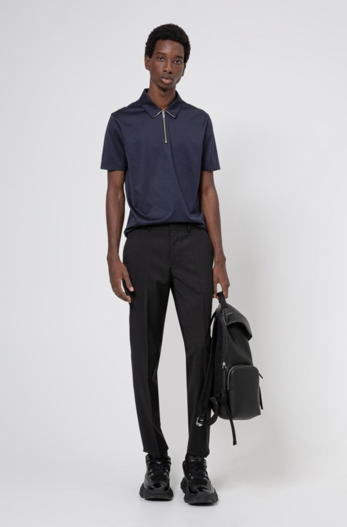 Zip-neck slim-fit polo shirt in mercerized cotton