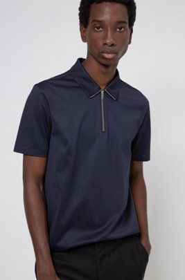 Zip-neck slim-fit polo shirt in mercerized cotton, Dark Blue