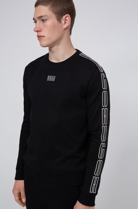 Interlock-cotton sweatshirt with vertical-logo tape sleeves, Black
