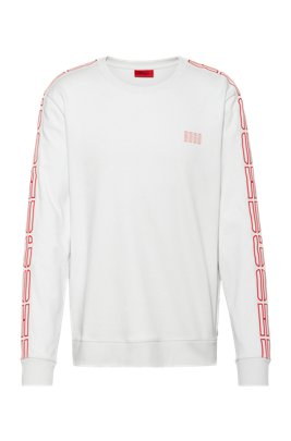 Interlock-cotton sweatshirt with vertical-logo tape sleeves, White