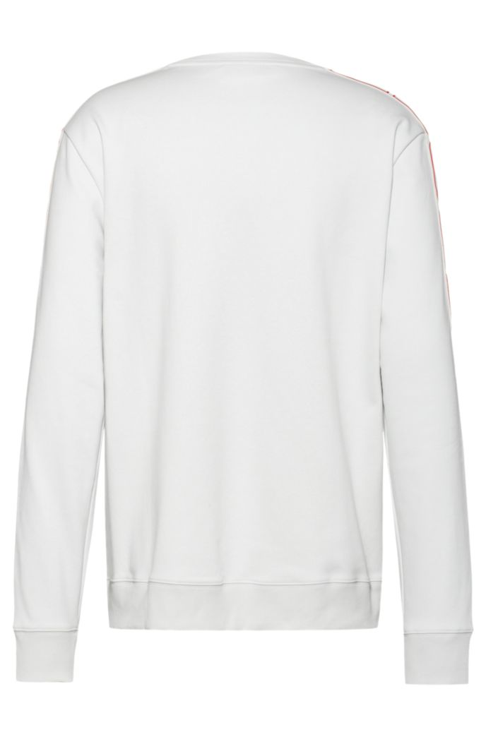 Interlock-cotton sweatshirt with vertical-logo tape sleeves