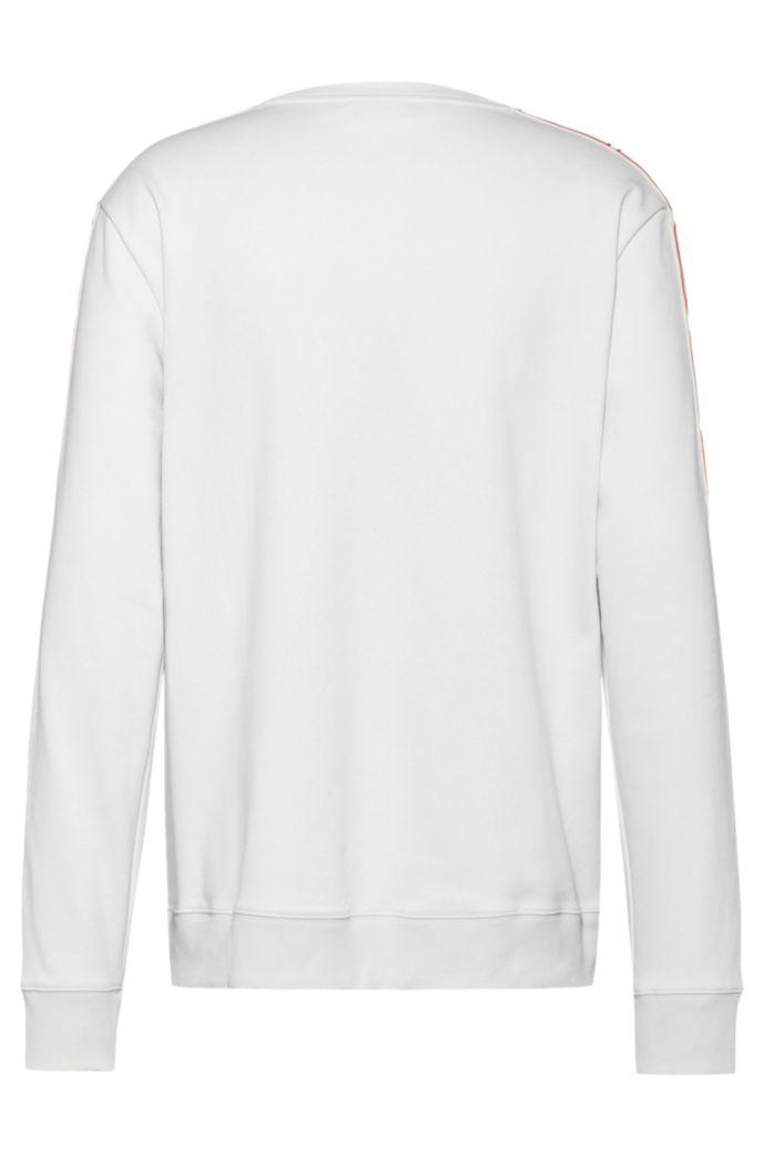 Interlock-cotton sweatshirt with vertical-logo tape sleeves