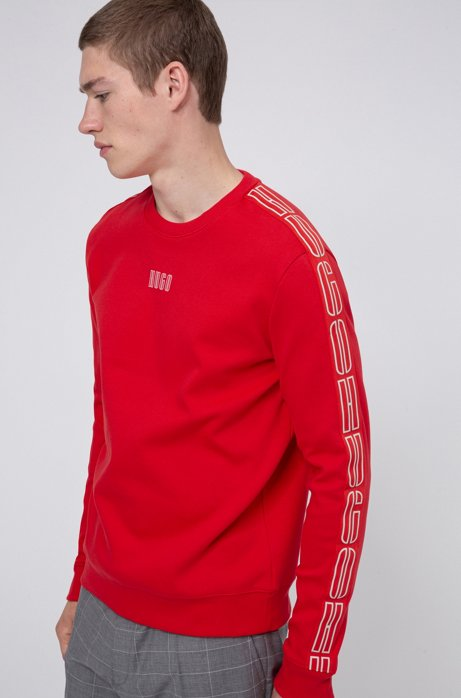 Interlock-cotton sweatshirt with vertical-logo tape sleeves, light pink
