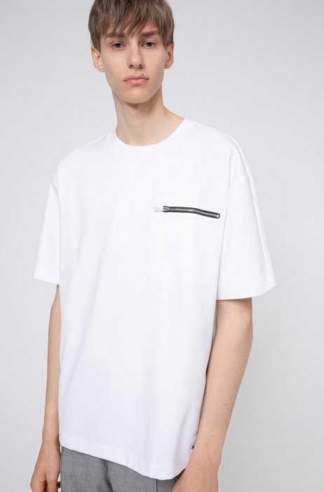 Mercerized cotton-blend T-shirt with zipper chest pocket, White