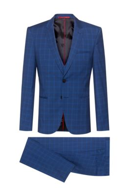 Extra-slim-fit three-piece suit in checked wool, Dark Blue