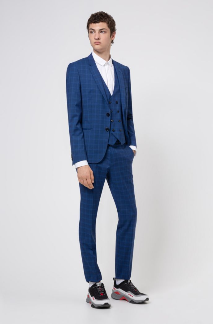 Extra-slim-fit three-piece suit in checked wool