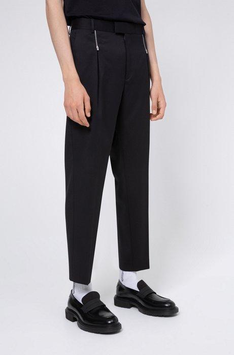 Zip-detail pants in virgin wool twill, Black