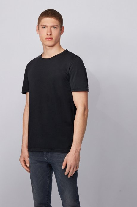 Regular-fit T-shirt in cotton with sun-bleached effect, Black