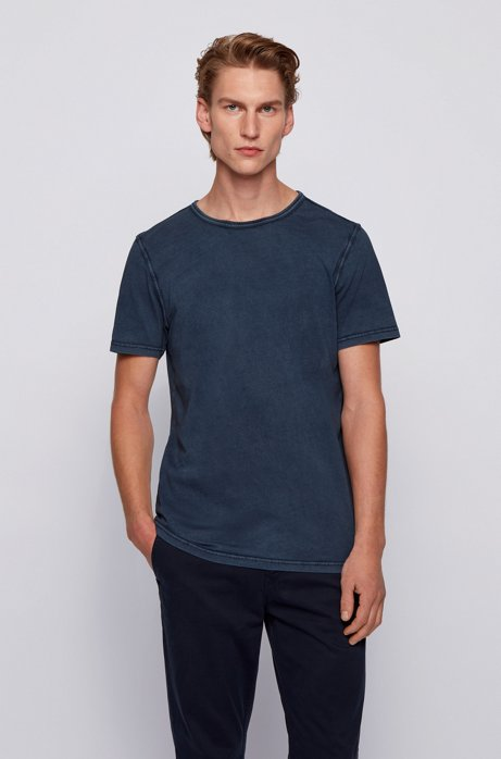Regular-fit T-shirt in cotton with sun-bleached effect, Dark Blue