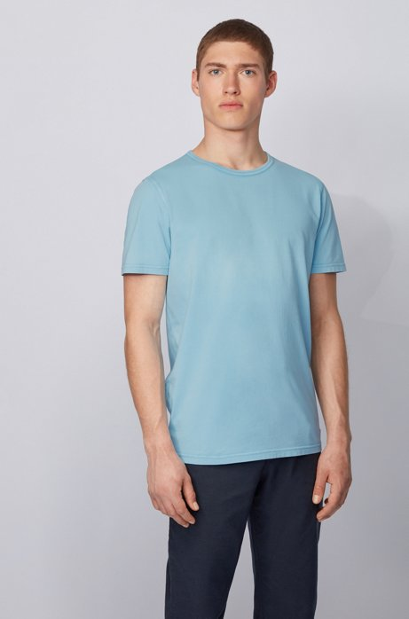 Regular-fit T-shirt in cotton with sun-bleached effect, Turquoise