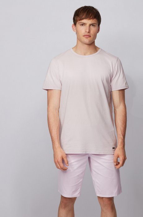 Regular-fit T-shirt in cotton with sun-bleached effect, Dark pink