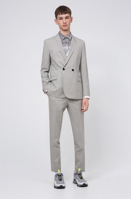 Slim-fit suit in pinstripe virgin wool, White