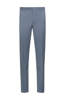 Slim-fit pants in micro-patterned stretch virgin wool, Light Blue