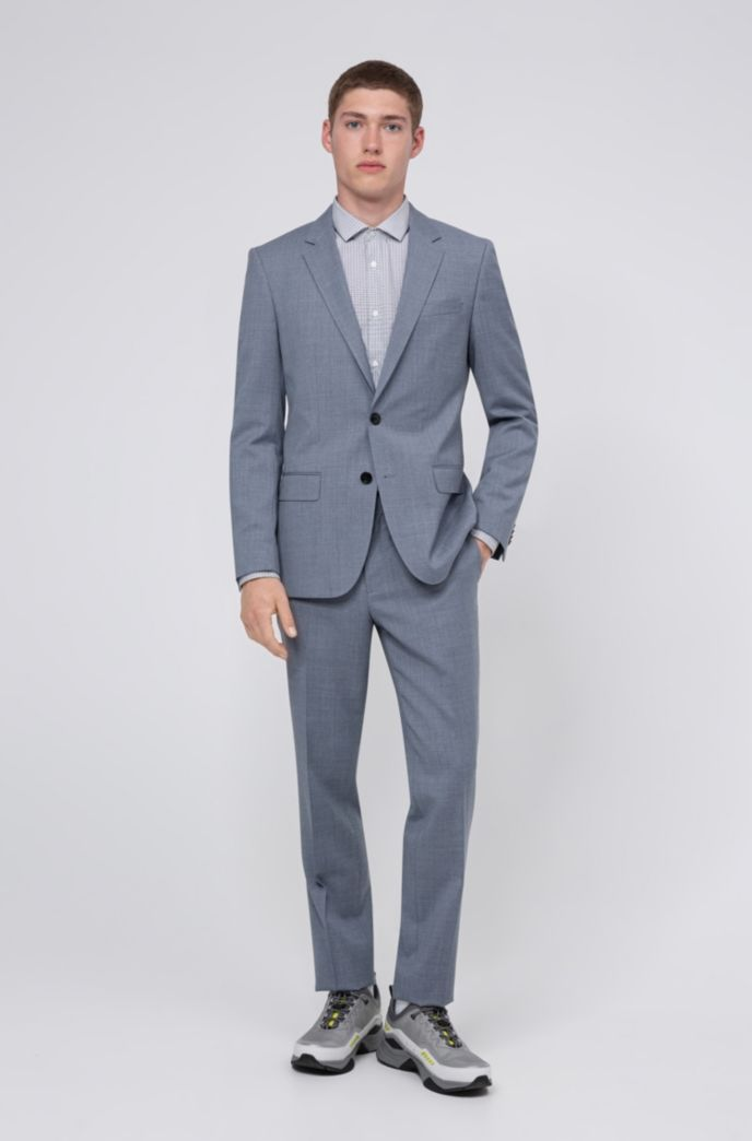 Slim-fit pants in micro-patterned stretch virgin wool
