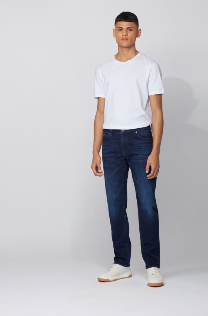 Regular-fit jeans in mid-blue Italian denim