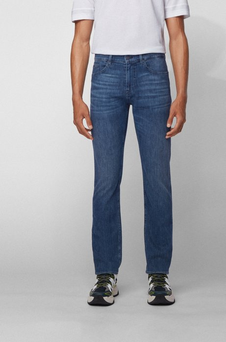 Slim-fit jeans in lightweight Italian stretch denim, Blue