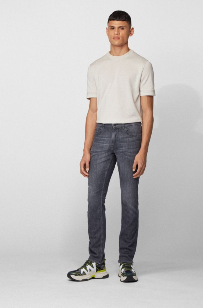 Slim-fit jeans in lightweight gray comfort-stretch denim