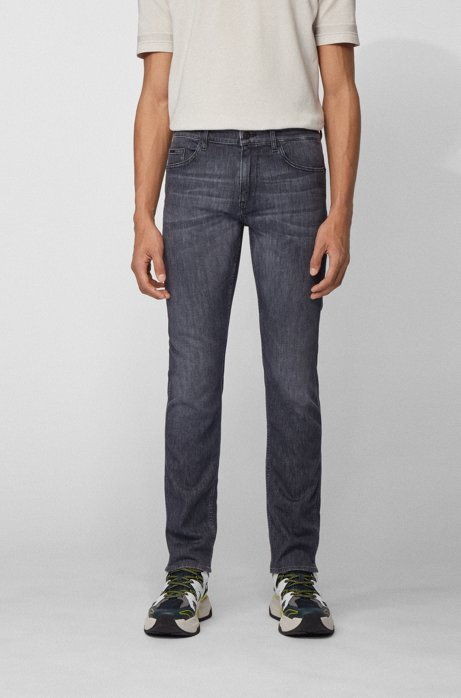 Slim-fit jeans in lightweight gray comfort-stretch denim, Dark Grey