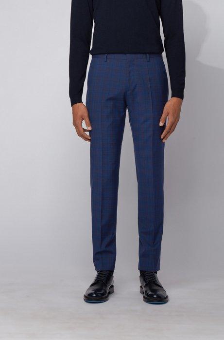 Slim-fit pants in checked virgin wool, Light Blue