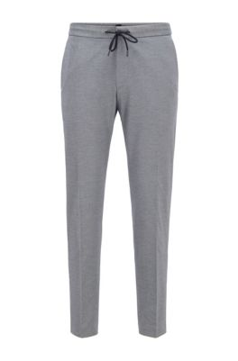 Slim-fit pants in stretch fabric with elasticated waistband, Light Blue