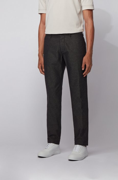 Regular-fit chinos in bi-colored stretch fabric, Black