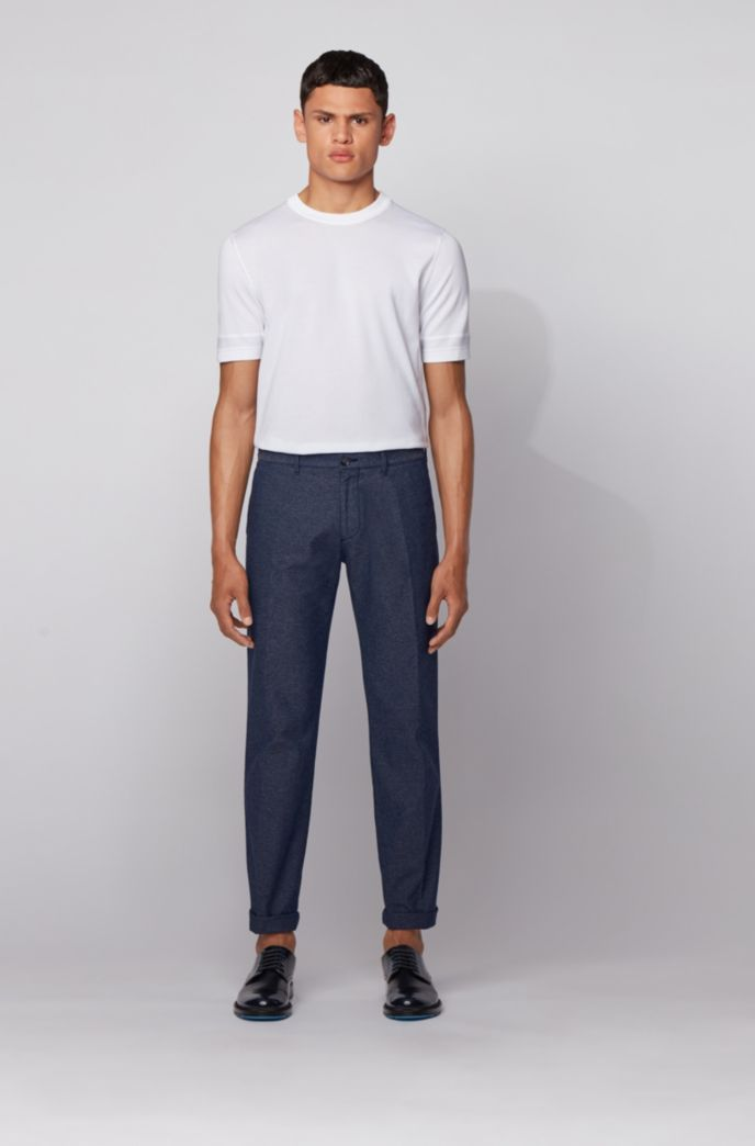 Regular-fit chinos in bi-colored stretch fabric