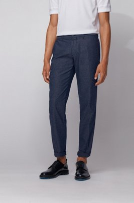 Regular-fit chinos in bi-colored stretch fabric, Dark Blue
