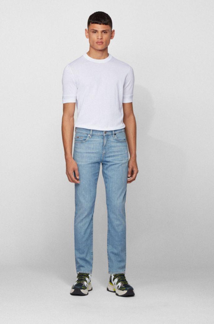 Slim-fit jeans in bright-blue Italian stretch denim