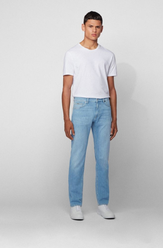 Regular-fit jeans in bright-blue Italian denim