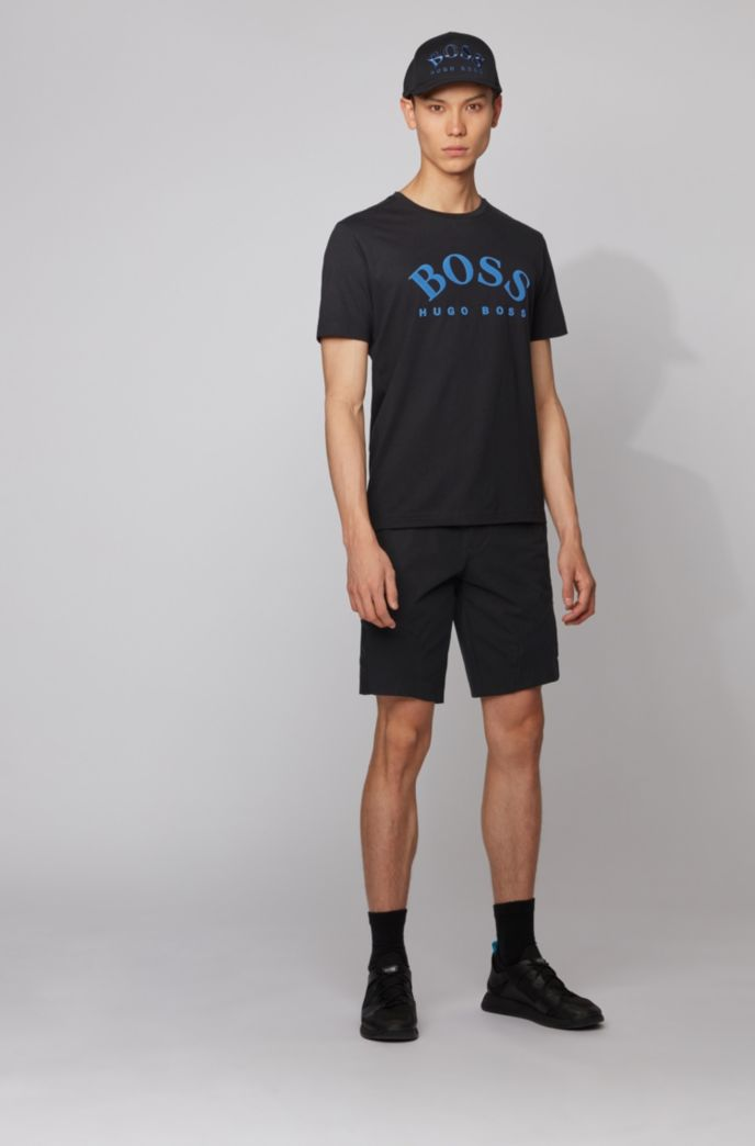 Cotton T-shirt with curved logo