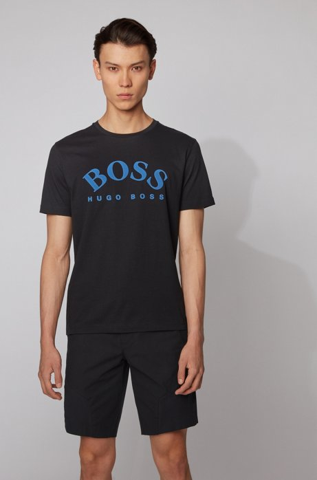 Cotton T-shirt with curved logo, Black