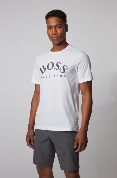 Cotton T-shirt with curved logo, White