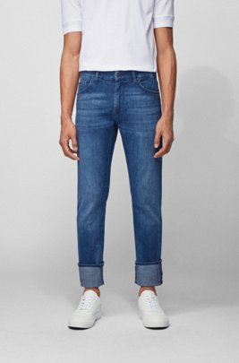 Regular-fit jeans in super-soft Italian stretch denim, Blue