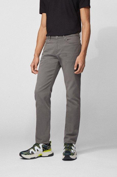 Slim-fit jeans in super-soft Italian stretch denim, Grey