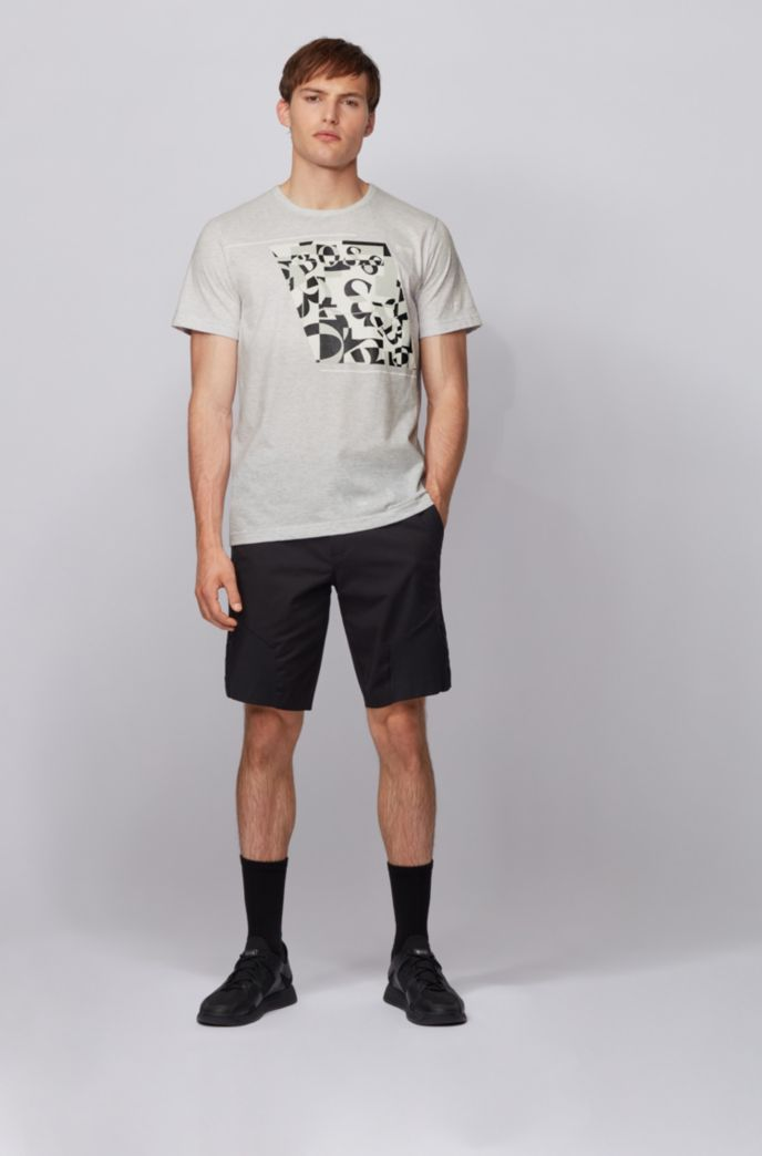 Cotton T-shirt with abstract logo print
