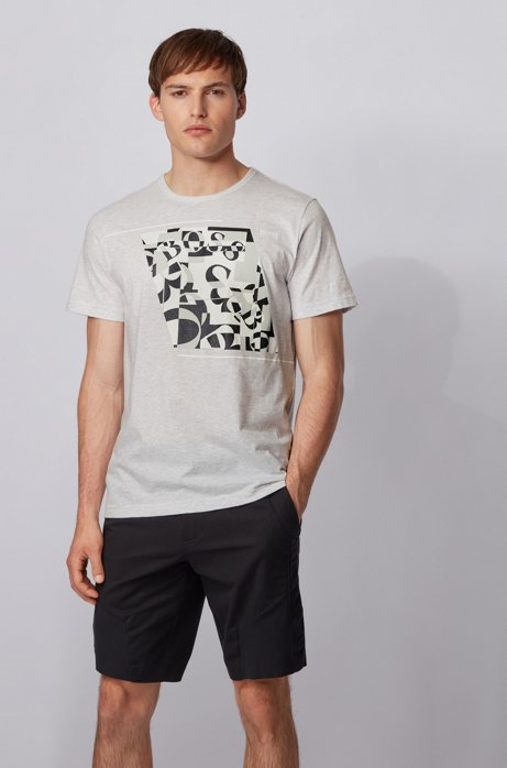 Cotton T-shirt with abstract logo print, Light Grey
