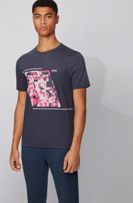 Cotton T-shirt with abstract logo print, Dark Blue