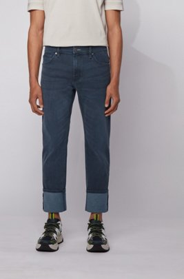 Regular-fit jeans in dark-blue Italian denim, Blue