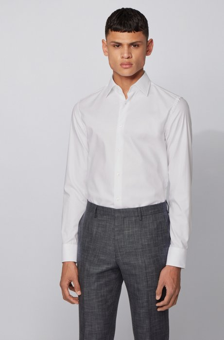 Slim-fit shirt in dobby-patterned Oxford cotton, White